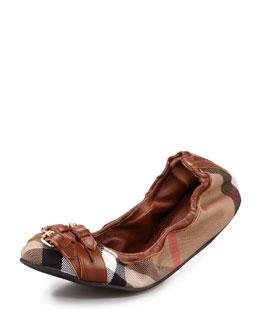 Burberry Scrunchy Check Ballerina Flat