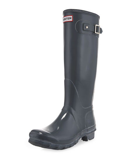 Tall Gloss Boot, Gray