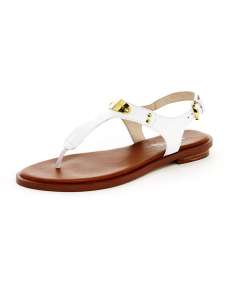 Logo-Plate Leather Thong Sandal, Optic White