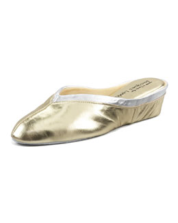 Jacques Levine Spanish Leather Wedge Mule, Gold/Silver