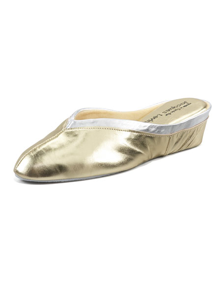 Spanish Leather Wedge Mule, Gold/Silver