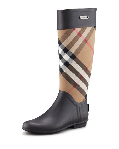 Burberry Clemence Mixed Media Rain Boot, Housecheck