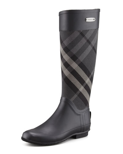 Clemence Mixed Media Rain Boot, Charcoal