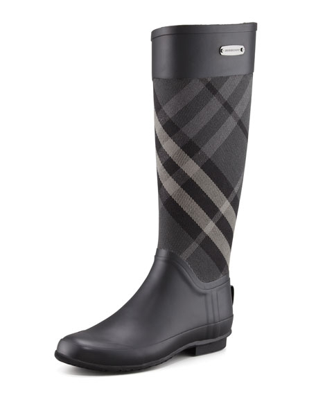 Burberry Clemence Mixed Media Rain Boot, Charcoal