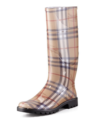 New Check Rain Boot