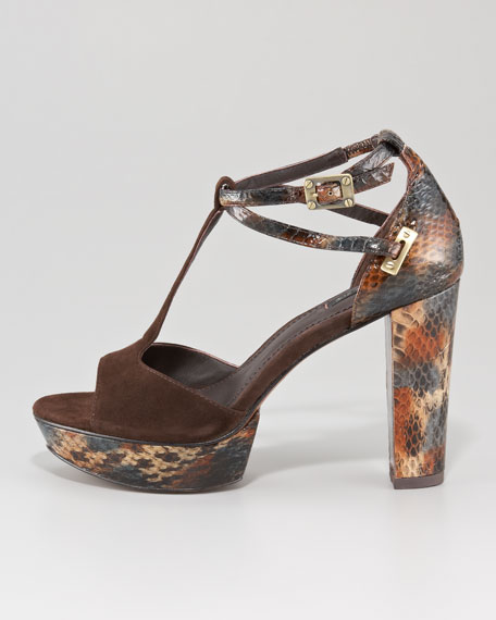 Paloma Snakeskin-Suede Sandals