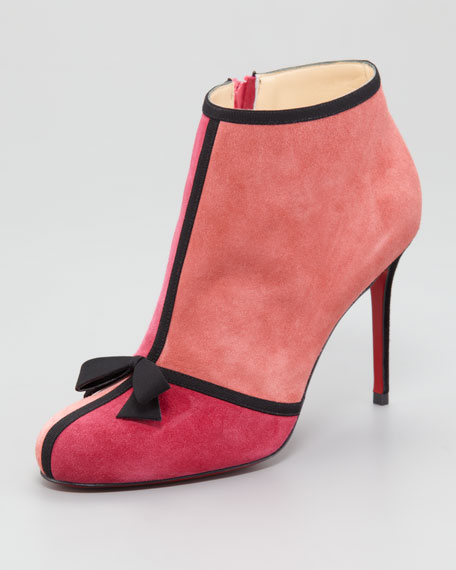 Arnoeud Grosgrain-Bow Suede Red Sole Ankle Boot