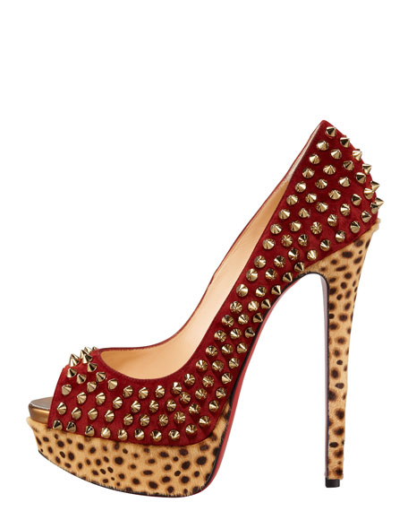 Lady Peep Spike Red Sole Pump