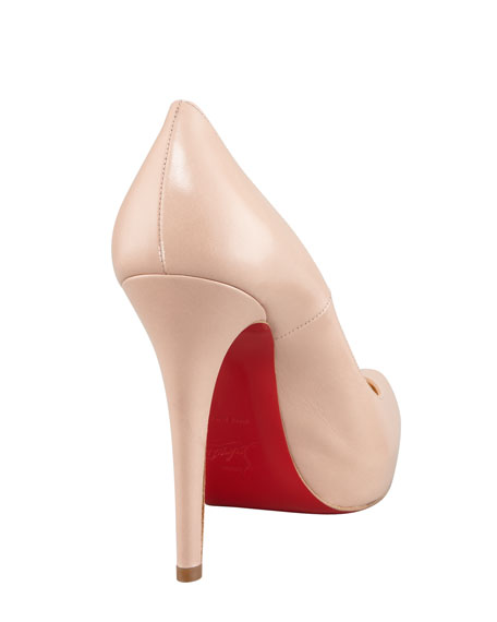 Rolando Platform Red Sole Pump, Nude
