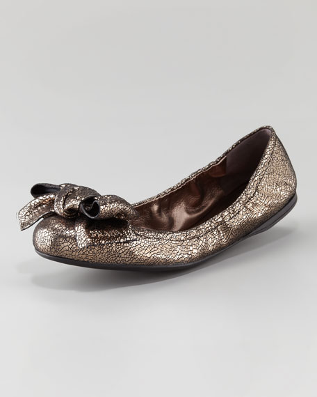 Crackled Metallic Bow-Toe Ballet Flat