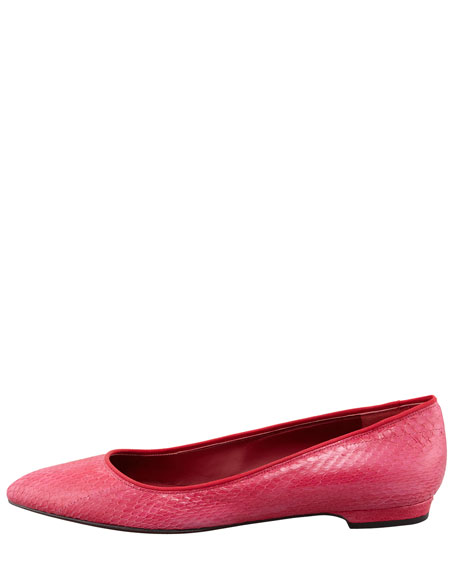 Snakeskin Pointed-Toe Flat