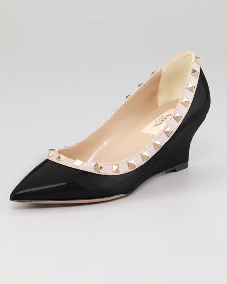 Rockstud Patent Leather Wedge Pump