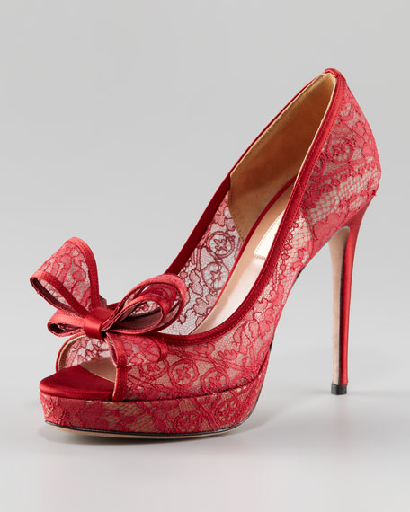 Couture-Bow Lace Platform Pump, Red