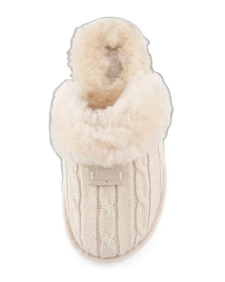 Cozy Knit Shearling Slipper Mule
