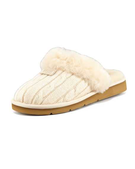 Cozy Knit Shearling Slipper Mule
