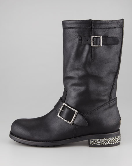 Crystal-Detailed Biker Boot