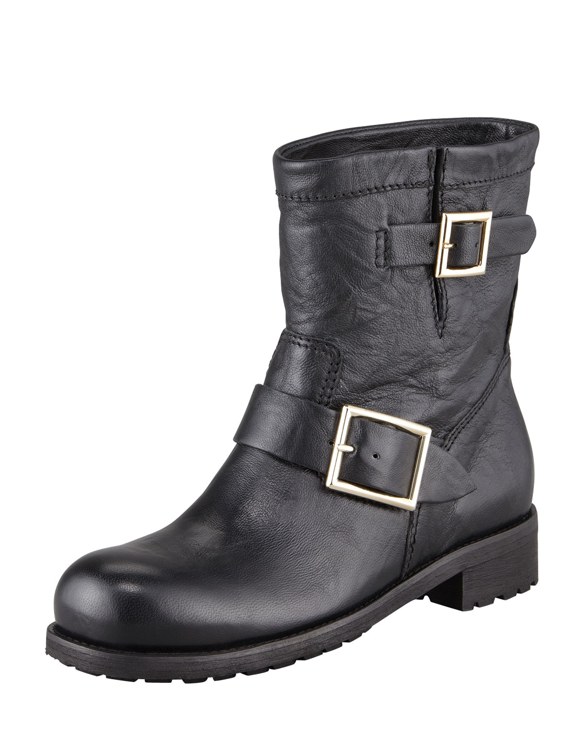 80049e64b11 Jimmy Choo Youth Buckled Biker Boots