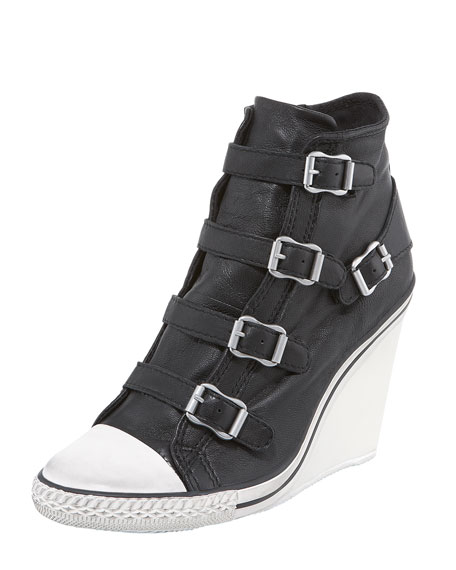 High-Wedge Leather Sneaker