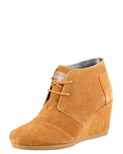 TOMS Suede Lace-Up Wedge Boot