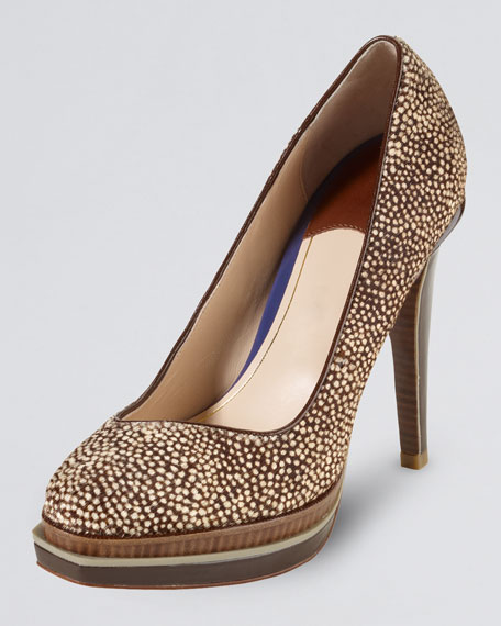 Chelsea Double-Platform Calf-Hair Pump