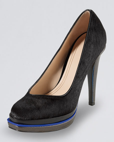 Cole Haan Chelsea Double-Platform Calf-Hair Pump