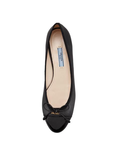 Leather & Patent Bow Ballerina Flat