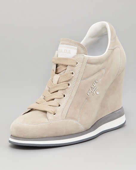 Suede Lace-Up Wedge Sneaker