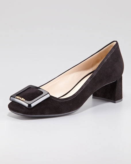 Suede Square-Toe Block-Heel Pump