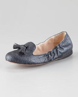 Prada Glitter Tassel Ballerina Flat
