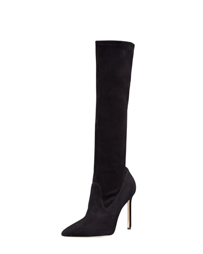 Manolo Blahnik Pascalare Suede Tall Boot, Black