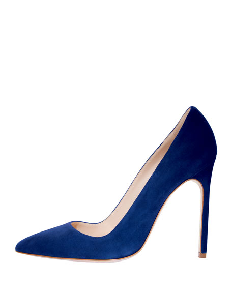 BB Suede Pointed-Toe Pump, Blue (Navy)