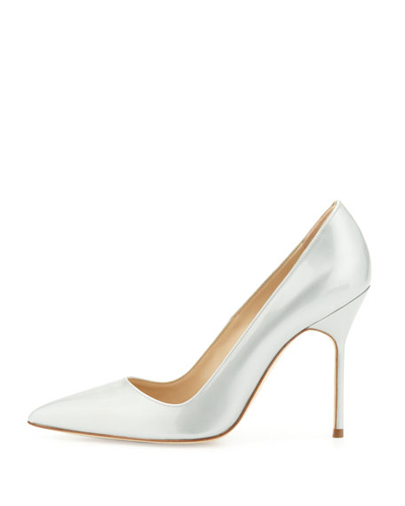 Manolo Blahnik Point-Toe Metallic Patent BB Pump