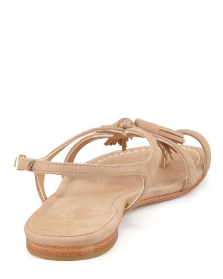 Flapper Toe-Ring Flat Sandal, Pimento