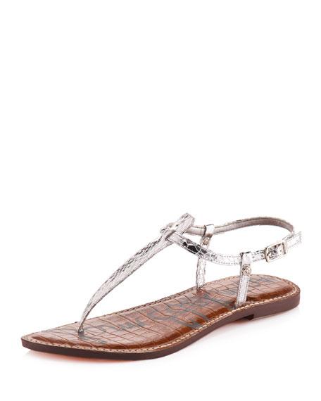 Gigi Snake-Embossed Thong Sandal