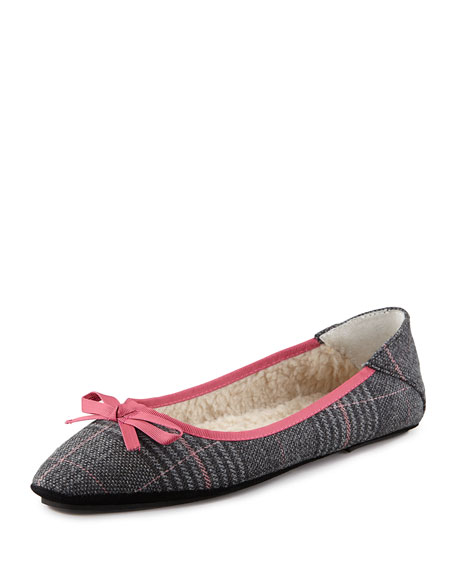 Inslee Bow Faux-Shearling Slipper, Houndstooth
