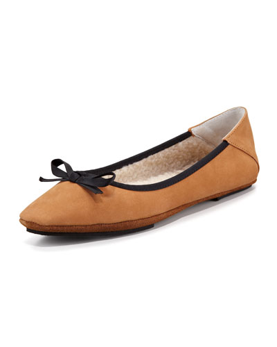 Jacques Levine Inslee Bow Faux-Shearling Slipper, Tan/Black