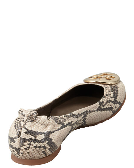Reva Snake-Print Ballerina Flat, Roccia