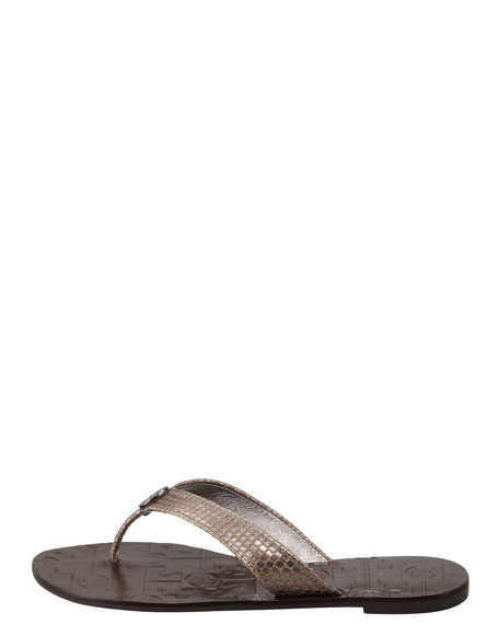 Thora2 Metallic Thong Sandal, Pewter