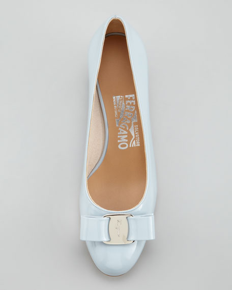 Vara-Bow Low-Heel Pump, Blue Pastel