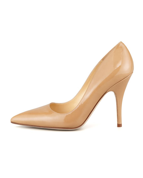 licorice patent pointed-toe pump, camel
