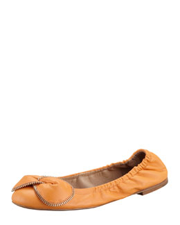 See by Chloe Zipper-Bow Scrunch Ballerina Flat, Orange
