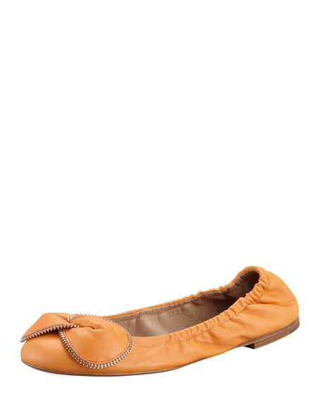 Zipper-Bow Scrunch Ballerina Flat, Orange