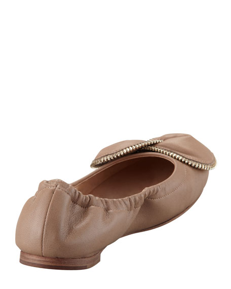 Zipper-Bow Scrunch Ballerina Flat, Powder