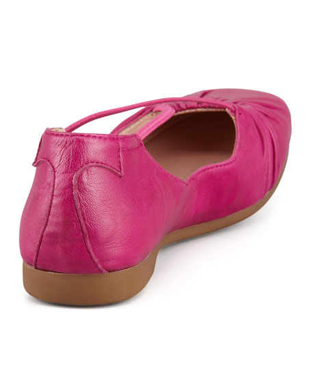 Bryan Ruched Crisscross Ballerina Flat, Magenta