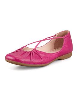 Taryn Rose Bryan Ruched Crisscross Ballerina Flat, Magenta