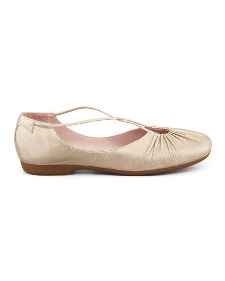 Bryan Ruched Crisscross Ballerina Flat, Champagne