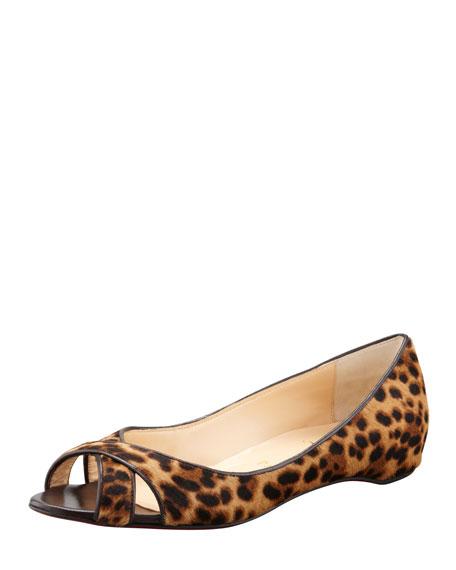 Croisette Leopard Calf Fur Flat
