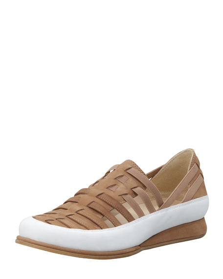 Stuart Weitzman Move In Strappy Elastic Sneaker, Tan