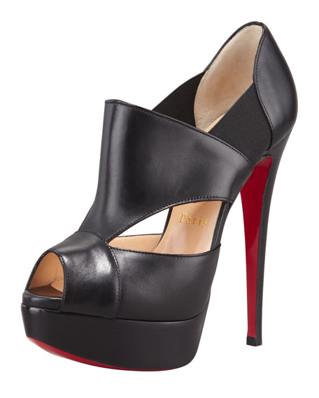 Pitou Leather Peep-Toe Red Sole Bootie, Black
