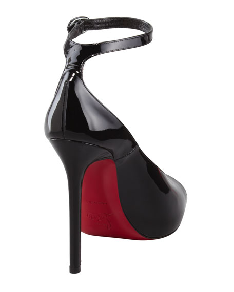 Rampoldi Ankle-Strap Red Sole Pump, Black
